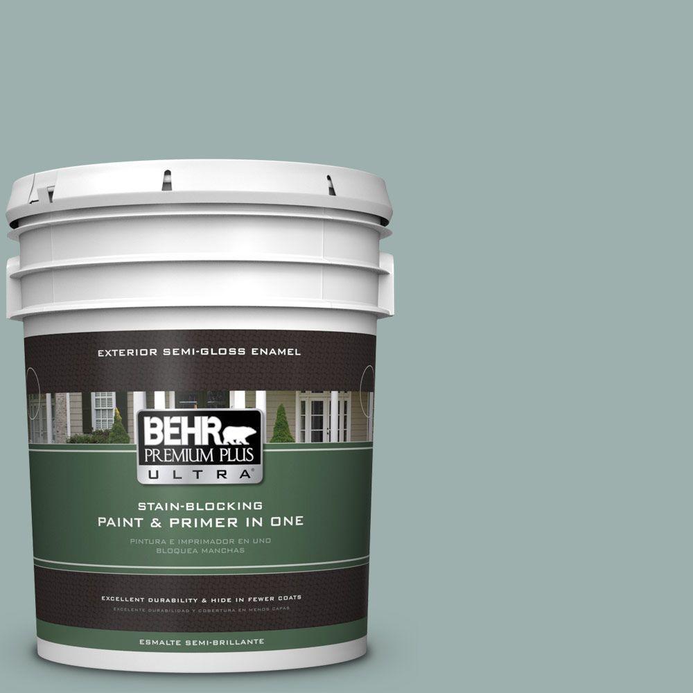 BEHR Premium Plus Ultra 5-gal. #490F-4 Gray Morning Semi-Gloss Enamel Exterior Paint