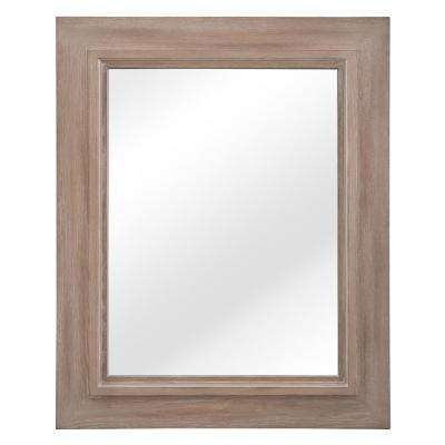 Banks 26 in. W x 32 in. H Single Framed Wall Mirror in Antique Ash Grey