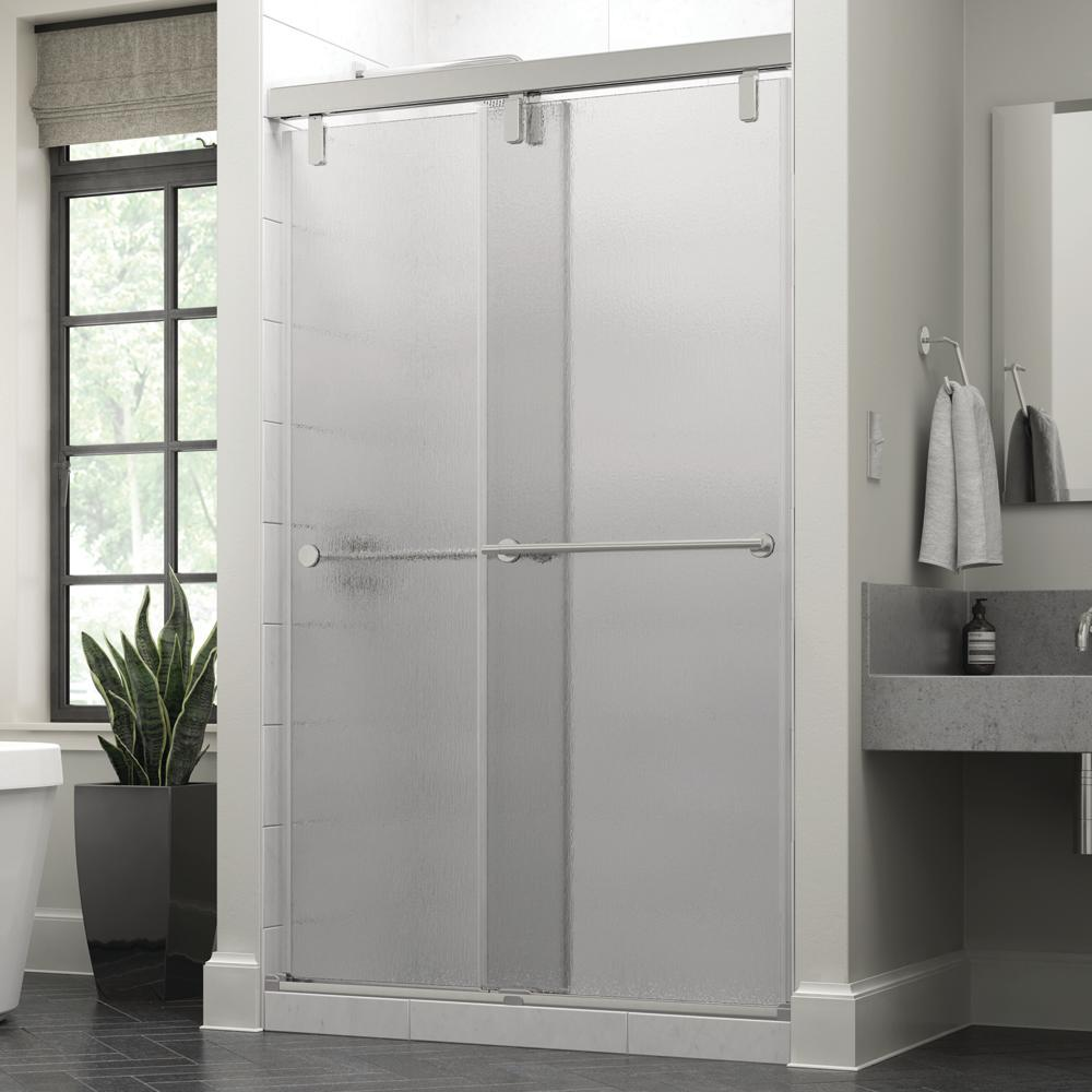 Delta Everly 48 X 71 1 2 In Frameless Mod Soft Close Sliding Shower Door In Chrome With 3 8 In 10mm Rain Glass