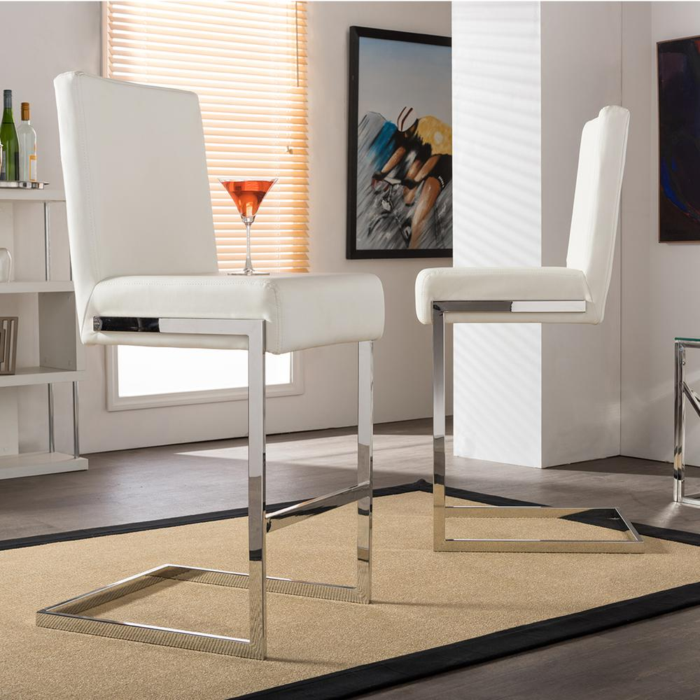 Counter Stools Overstock: Baxton Studio Toulan White Faux Leather Upholstered 2