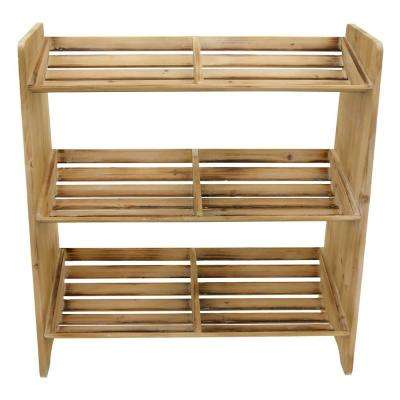 24.5 in. x 10 in. x 25.5 in. Wood Storage Rack 3 Tier