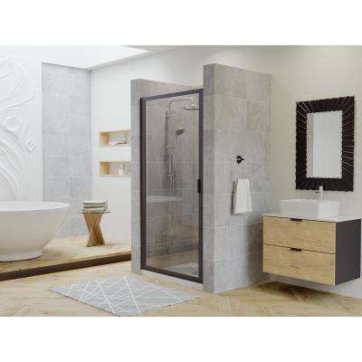 Paragon 34 in. to 34.75 in. x 70 in. Framed Pivot Shower Door in Black Bronze with Clear Glass