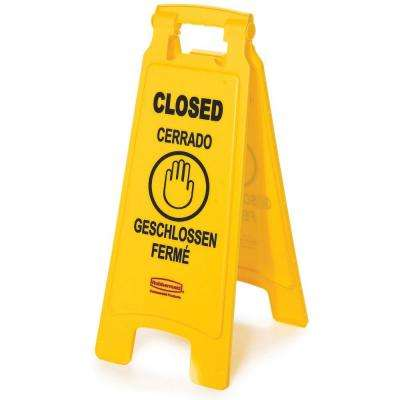 25 in. Plastic Multi-Lingual 2-Sided Closed Sign