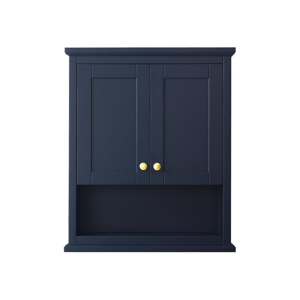 Wyndham Collection Avery 25 In W Bathroom Storage Wall Cabinet In Dark Blue