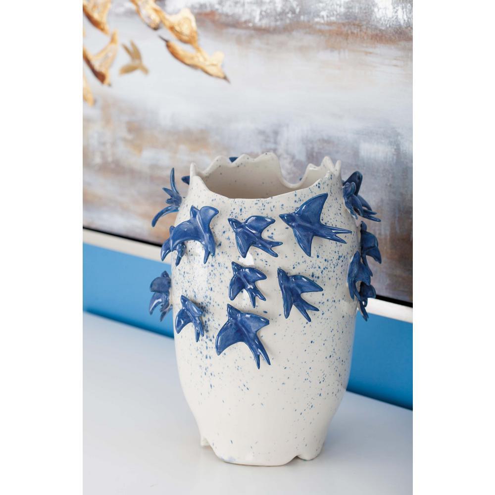12 in. Ceramic White Decorative Vase with Bird-Sculptures