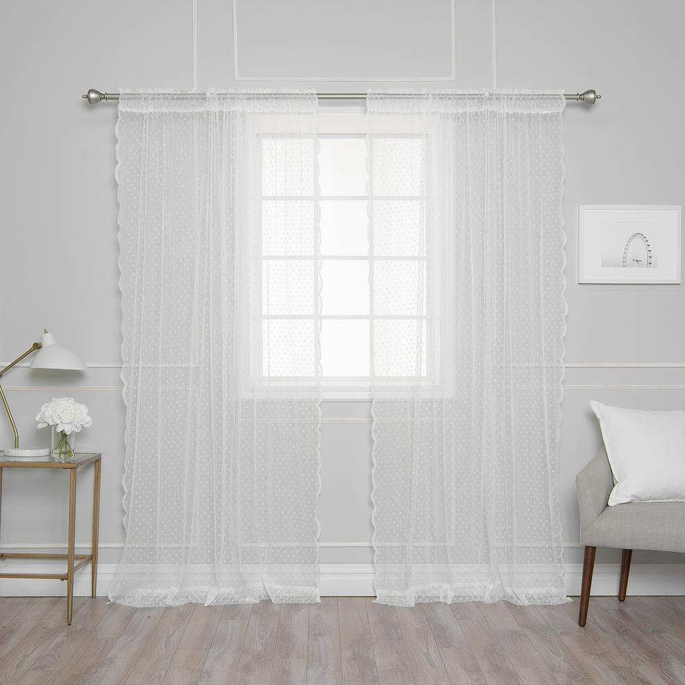 Best Home Fashion 84 in. L White Sheer Lace Dot Curtain Panel (2-Pack)