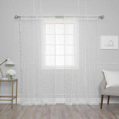 84 in. L White Sheer Lace Dot Curtain Panel (2-Pack)