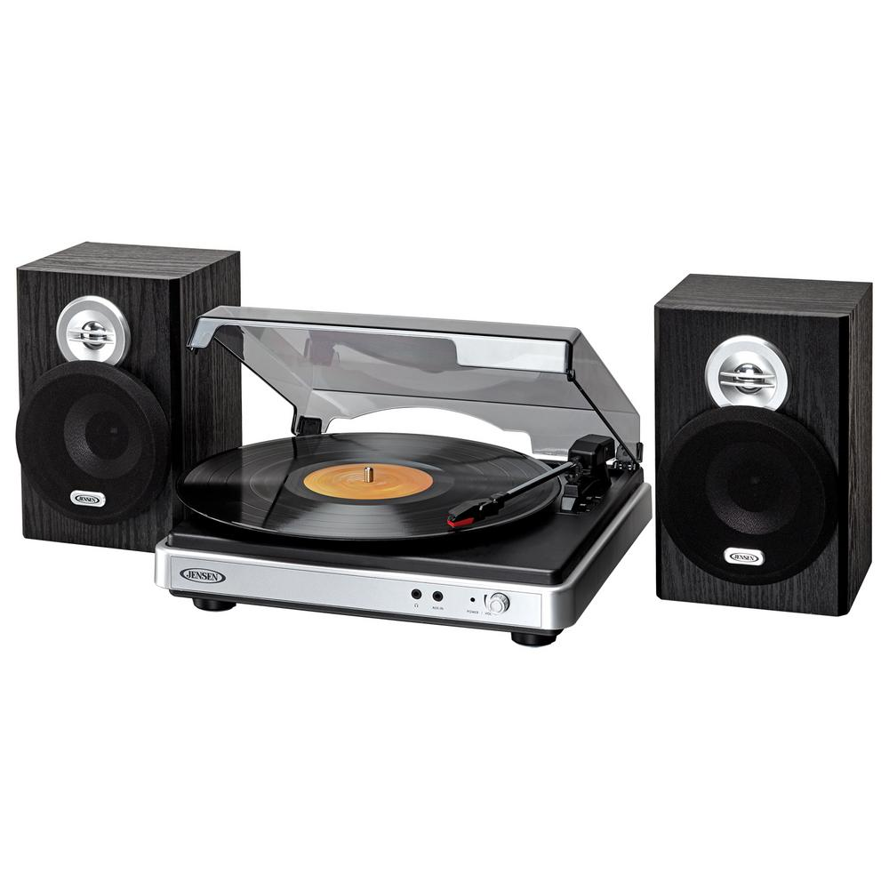 3-Speed Stereo Turntable with Detached Stereo Speakers Listen to new and classic vinyl with the JENSEN JTA-325 3-speed stereo turntable with stereo speakers. This turntable offers several features you will not find anywhere else for this value. Connect the unit to your computer (cable included) and convert your vinyl records to digital MP3 format with the included software. The built-in pitch control allows you to fine-tune the record speed faster or slower for the perfect playback. Listen to your vinyl collection using the two (2) included speakers or plug your headset into the stereo headphone jack for private listening. The JTA-325 also comes equipped with an auxiliary input jack for connecting an external digital media player. The unit operates on 120-Volt AC and includes a dust cover, metal tone arm and auto stop switch.