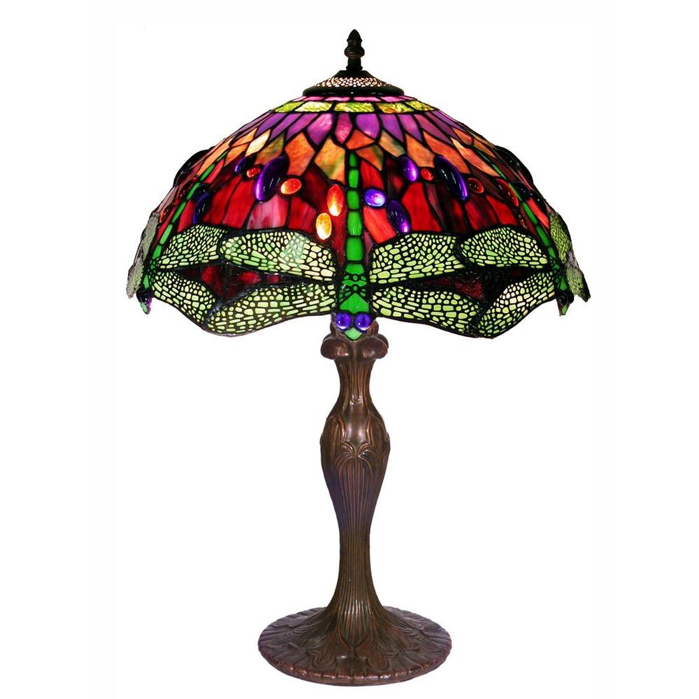 Warehouse of tiffany dragonfly 24 in bronze stained glass table lamp