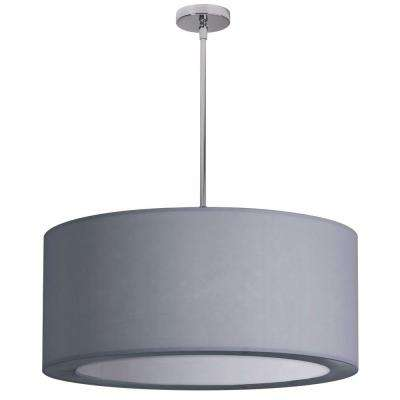 Catherine 4 Light Incandescent Satin Chrome Chandelier with White Lyrca Shades