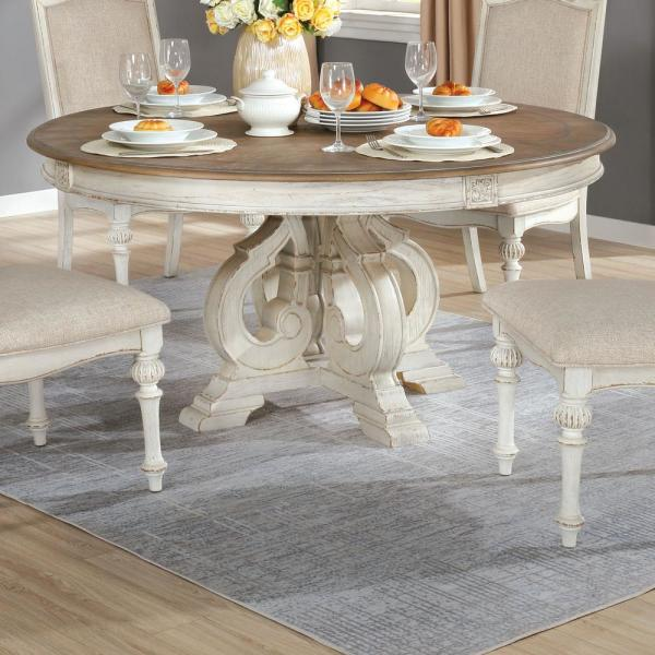 Furniture Of America Willadeene Antique White Round Dining Table Idf 3150wh Rt The Home Depot