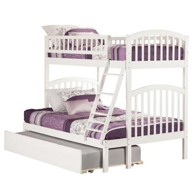 Richland Bunk Bed Twin over Full with Full Size Urban Trundle Bed in White