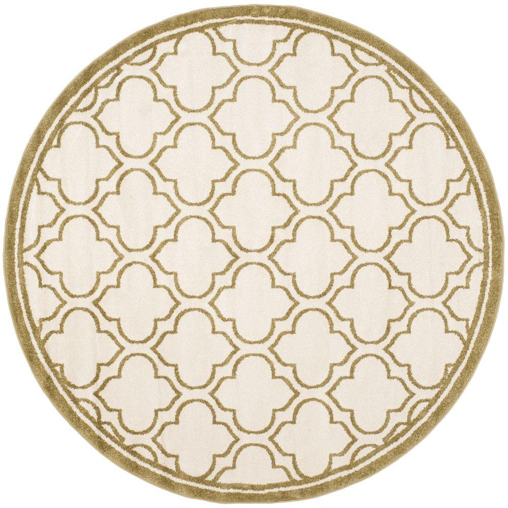 Amherst Ivory/Light Green 7 ft. x 7 ft. Indoor/Outdoor Round Area