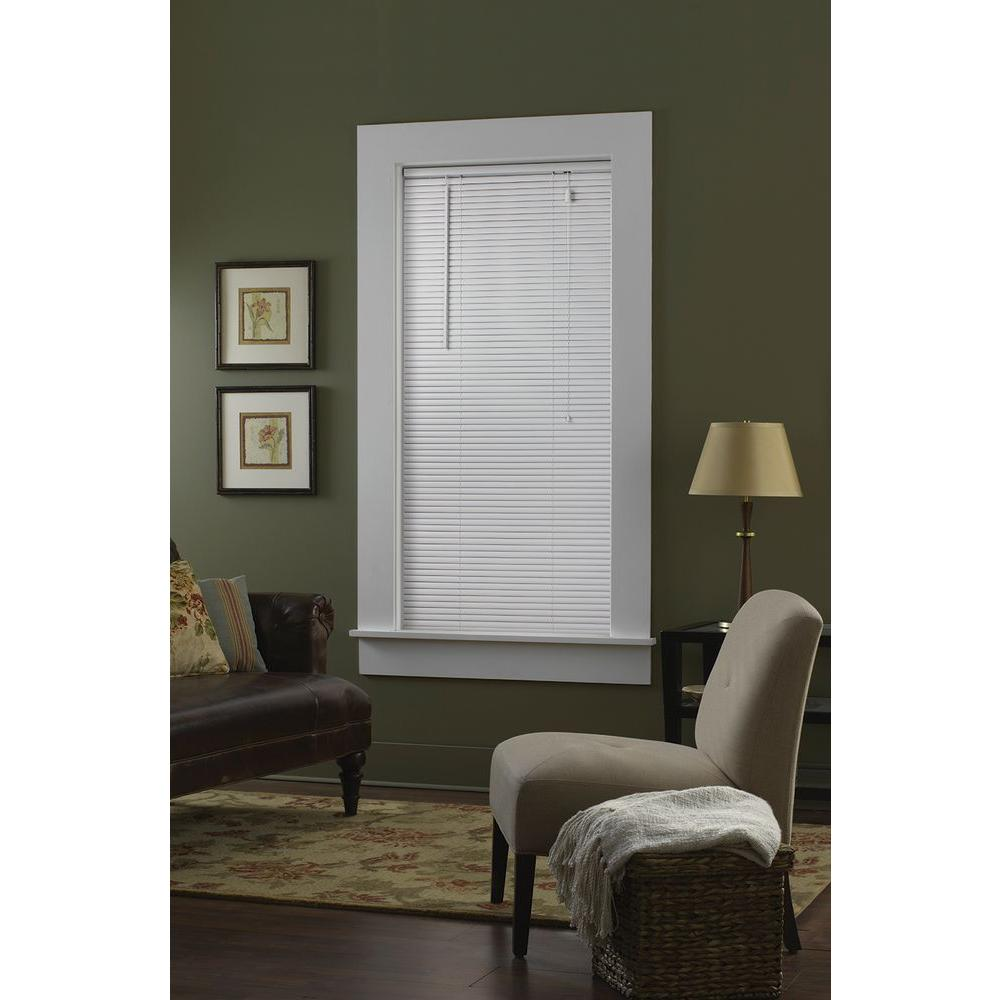 Bali Cut-to-Size White 1 in. Blackout Vinyl Mini Blind - 58 in. W x 72 in. L (Actual Size is 57.5 in. W x 72 in. L)