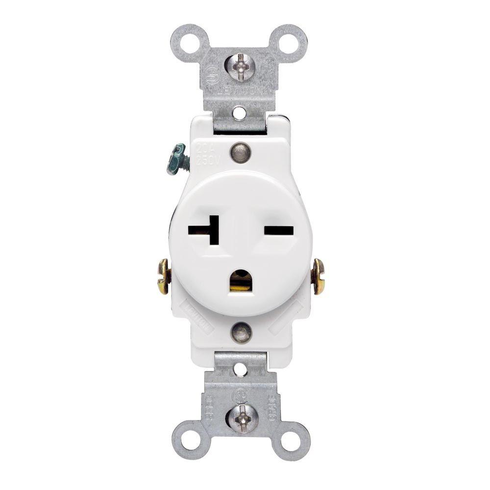 Leviton 20 Amp Commercial Grade Double-Pole Single Outlet, White-R52 ...