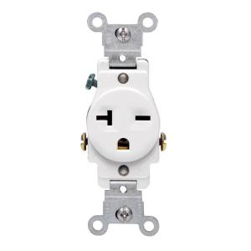 leviton 20 amp commercial grade double-pole single outlet, white