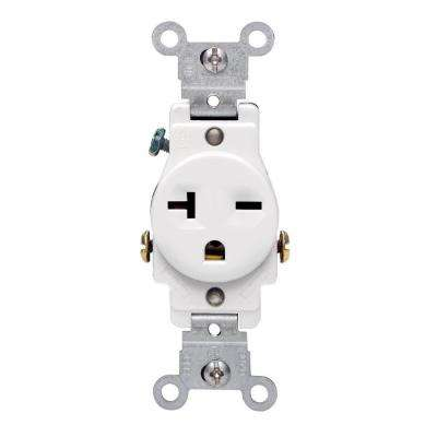 20 Amp Commercial Grade Double-Pole Single Outlet, White