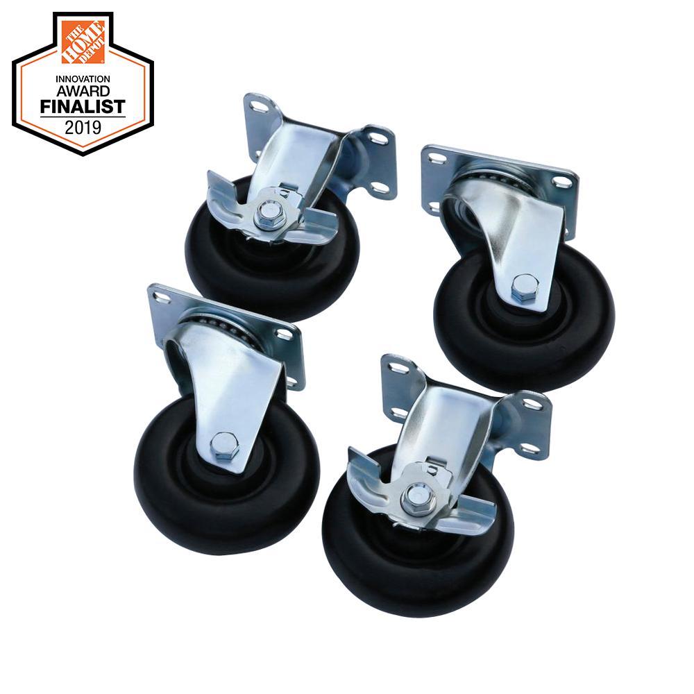 Husky 4 in. Black Caster Kit for Welded Steel Garage Cabinets