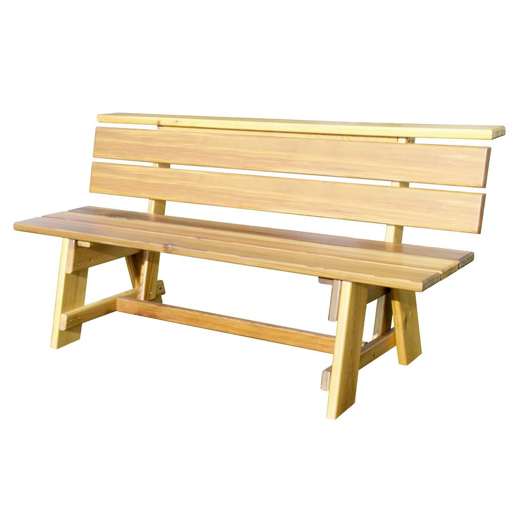 White oak signature natural finish wood outdoor bench