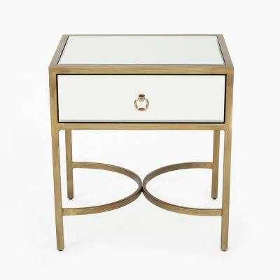 Siryen Modern Mirrored Side Table with Gold Iron Frame