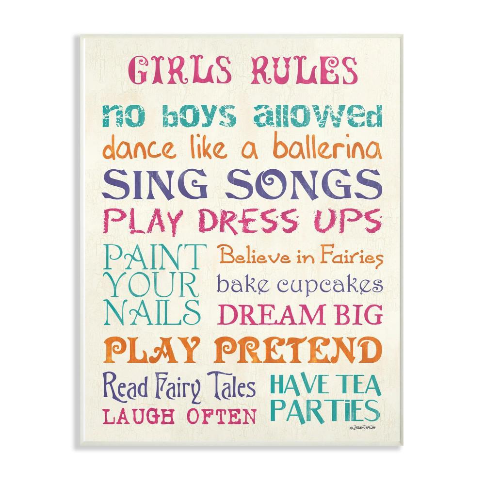 """13 in. x 19 in. """"Pink Teal Orange and Purple Girls Rules"""" by Debbie DeWitt Printed Wood Wall Art"""