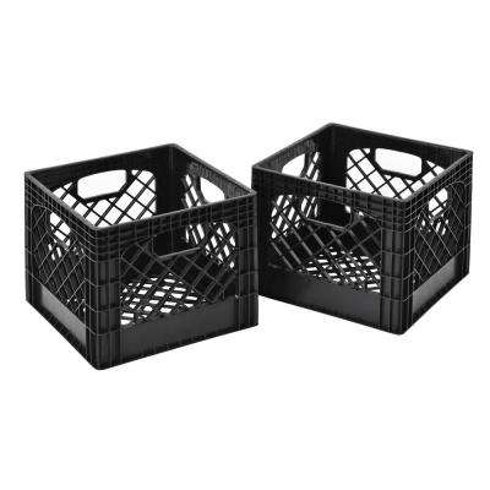 11 in. H x 13 in. W x 13 in. D Plastic Storage Milk Crate in Gray (2-Pack)