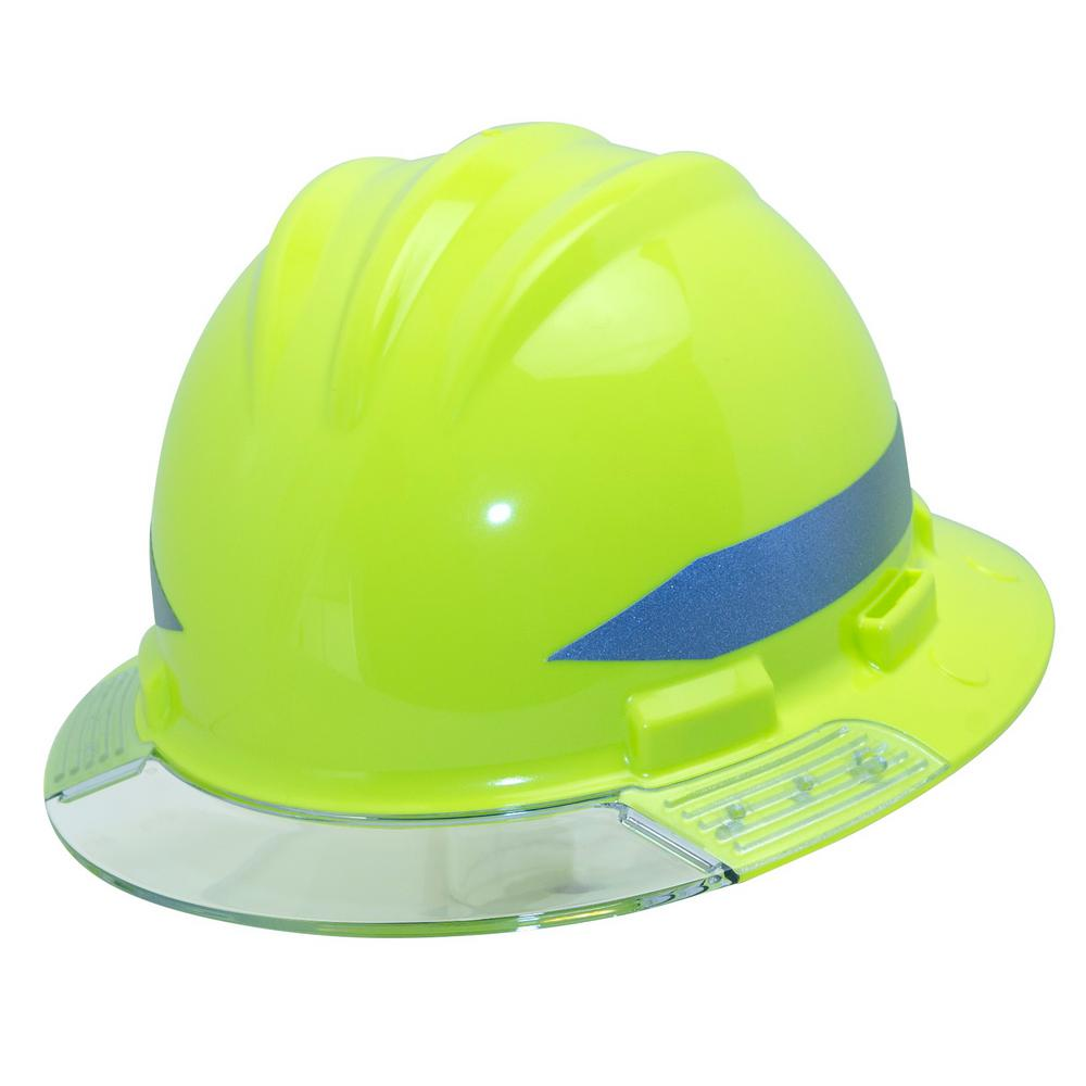 4c974a075 Hi-Vis Full Brim Above View Hard Hat with Clear Brim Visor 4-Point Ratchet  Suspension System and Cotton Brow Pad