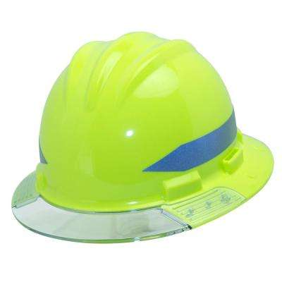 Hi-Vis Full Brim Above View Hard Hat with Clear Brim Visor 4-Point Ratchet Suspension System and Cotton Brow Pad
