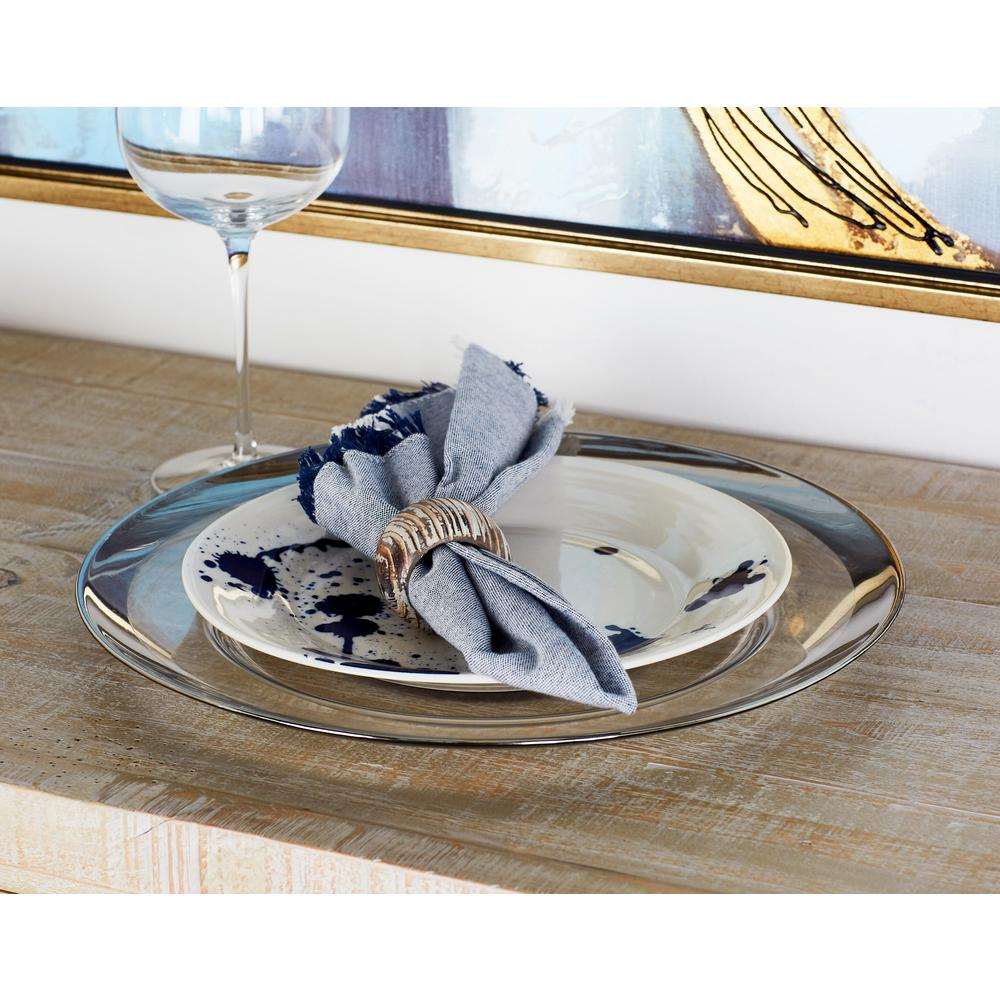 White Charger Plate with Thick Silver Rim