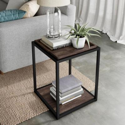 Nash 22 in. Nutmeg Matte Black Accent End Table or Modern Side Table with Tray Top Shelves and Metal Frame