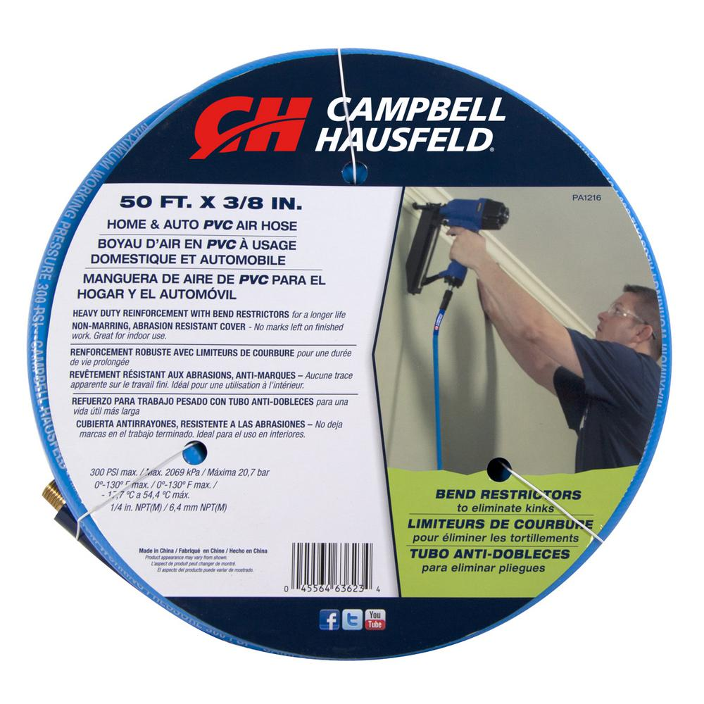3/8 in. x 50 ft. Blue PVC Air Hose with Bend