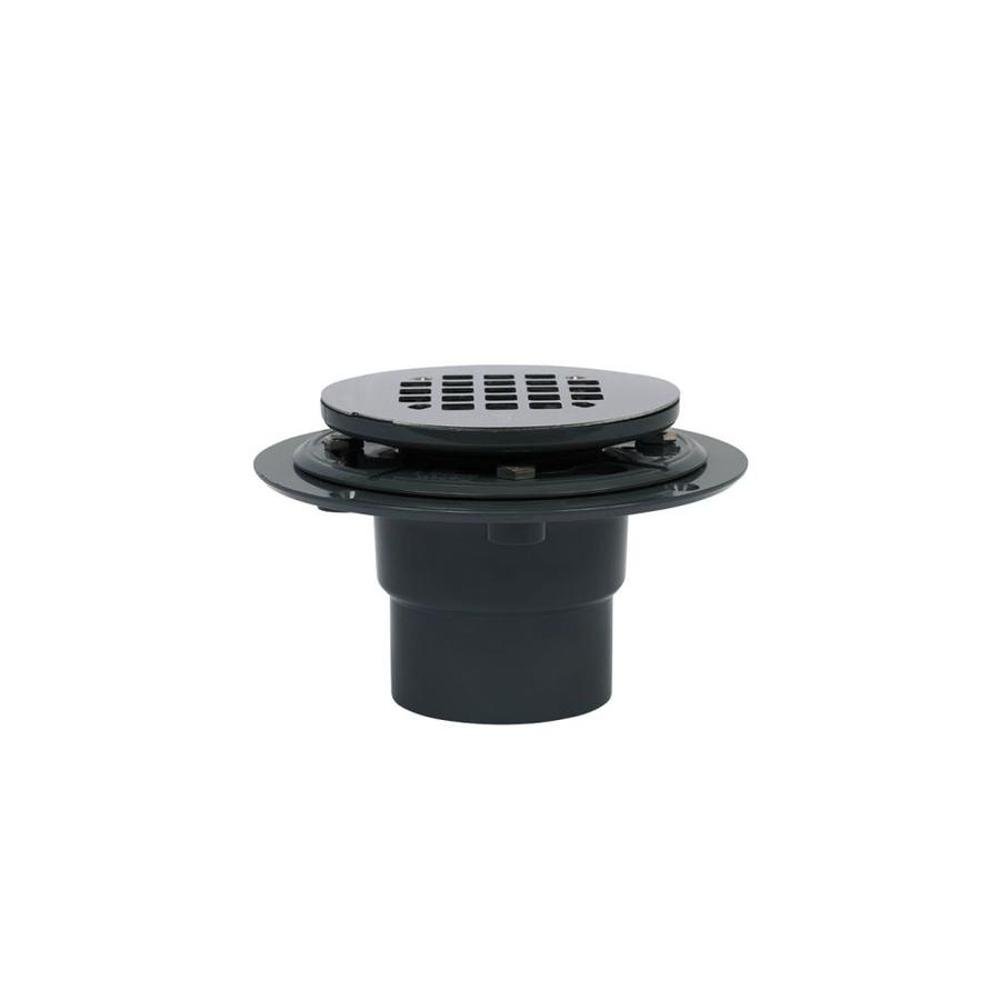 Oatey Round Black ABS Shower Drain with 4-1/4 in. Round Snap-In Stainless Steel Drain Cover