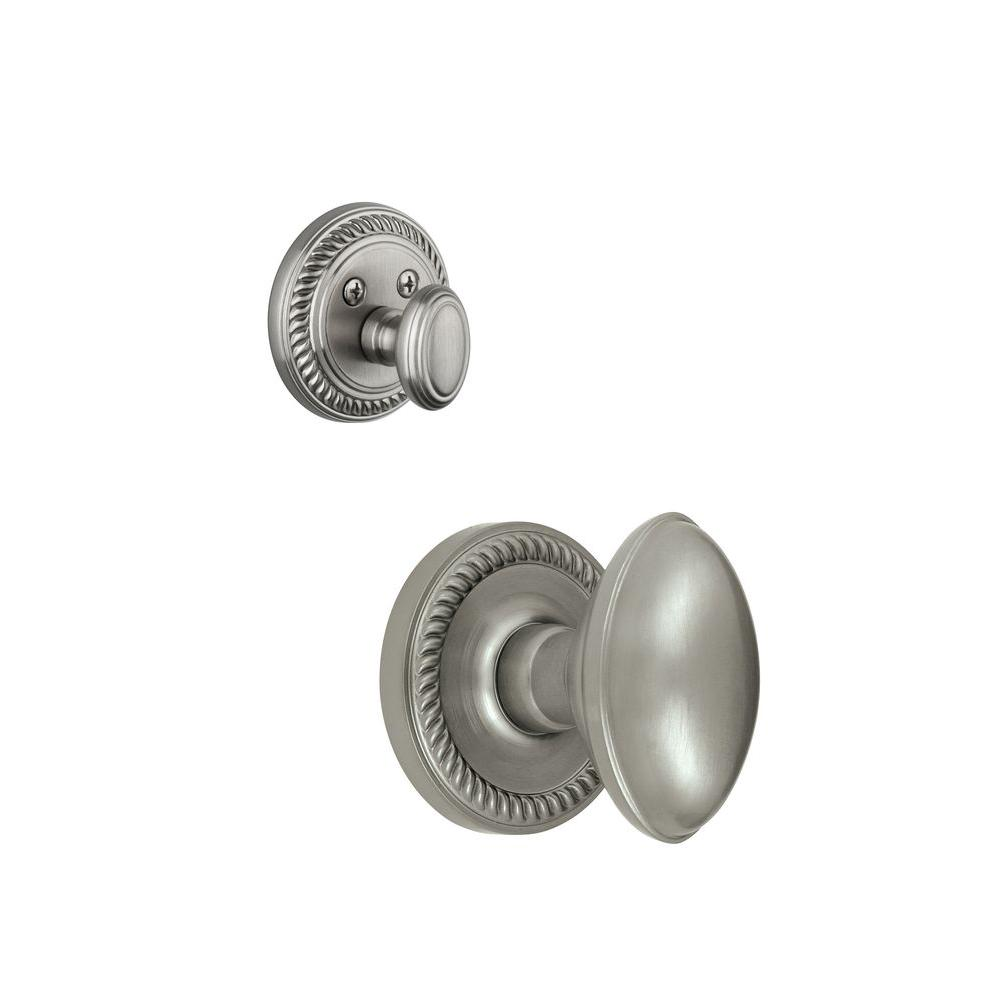 Grandeur Newport Single Cylinder Satin Nickel Combo Pack Keyed Differently with Eden Prairie Knob and Matching Deadbolt