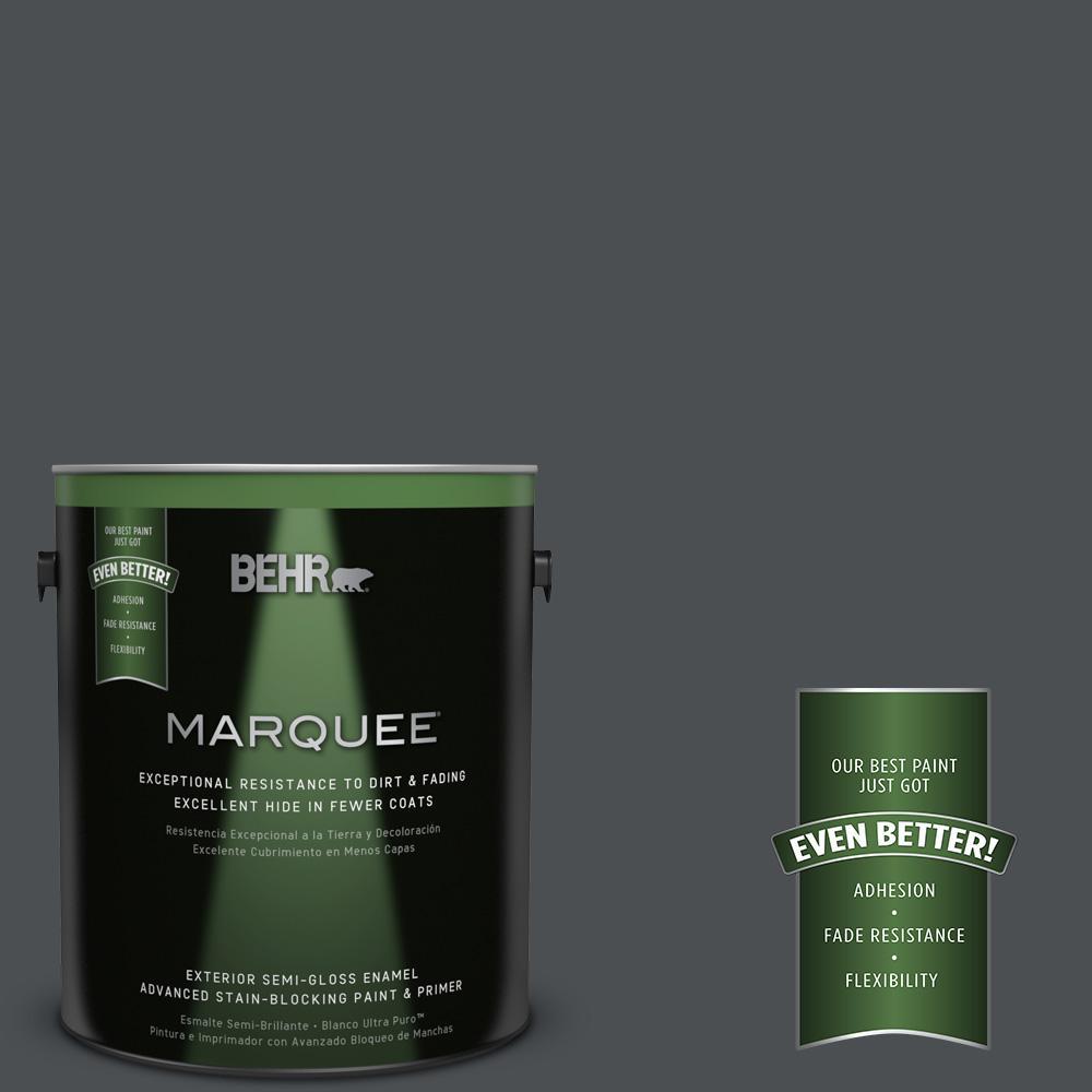 1 gal. #PPU26-01 Satin Black Semi-Gloss Enamel Exterior Paint