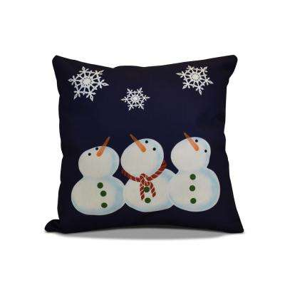 16 in. x 16 in. 3 Wise Snowman Holiday Pillow in Navy Blue