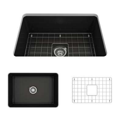 Sotto Undermount Fireclay 27 in. Single Bowl Kitchen Sink with Bottom Grid and Strainer in Matte Black