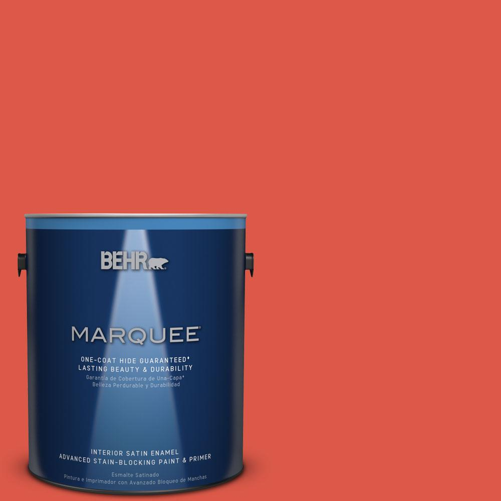 1 gal. #T12-7 Red Wire Satin Enamel Interior Paint