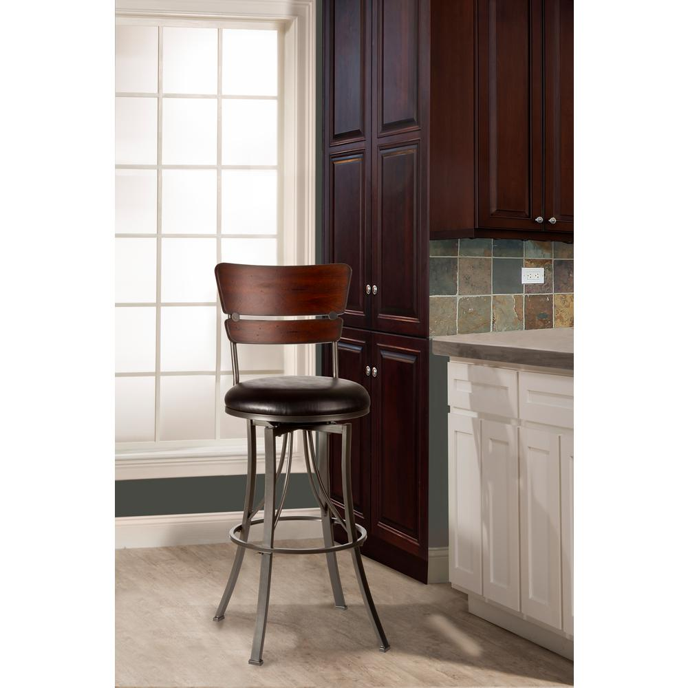 Hillsdale Furniture Santa Monica 26 In Pewter And Distressed Cherry Swivel Cushioned Bar Stool