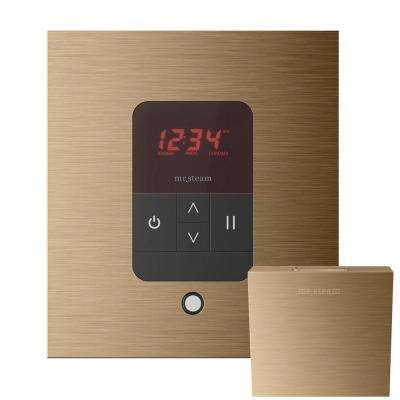 iTempo Control with AromaSteam Steam Head Square for Steam Bath Generator in Brushed Bronze