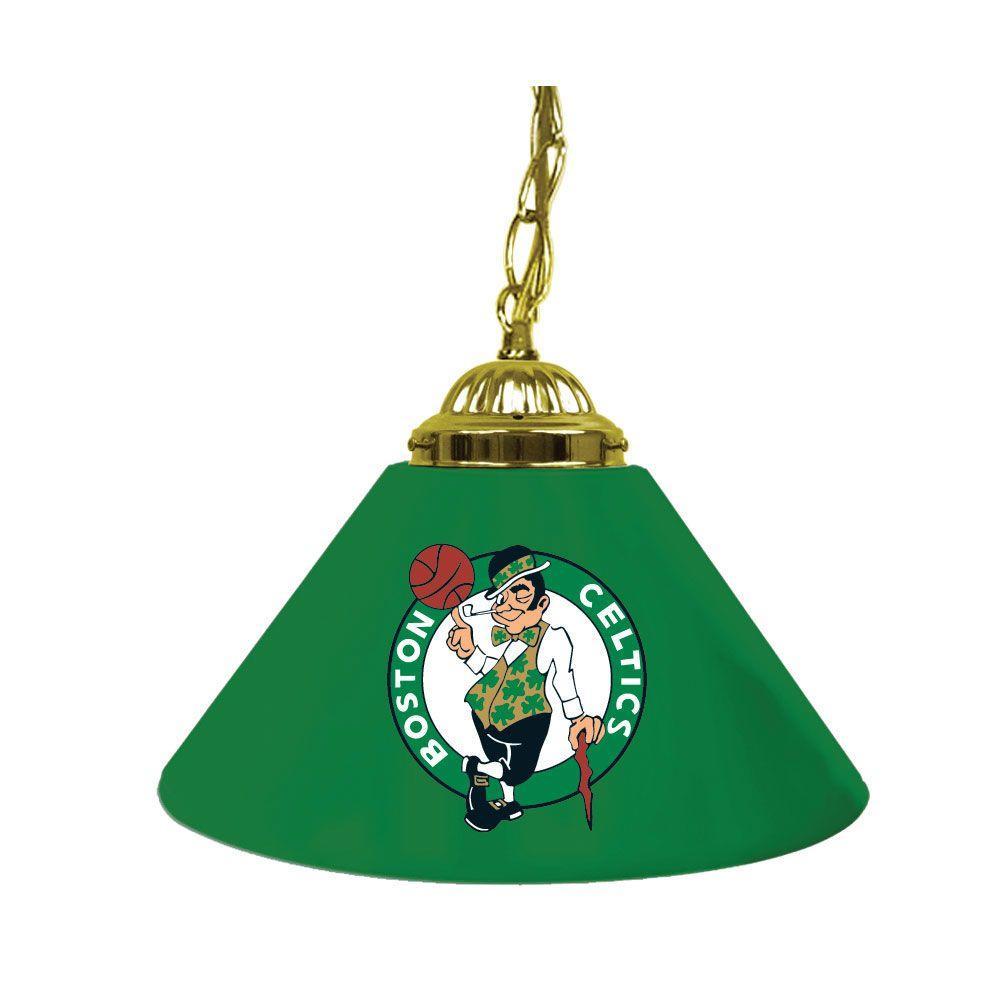 Boston Celtics NBA 14 in. Single Shade Gold Hanging Lamp