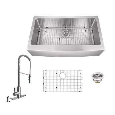 All-in-One Farmhouse Apron Front Stainless Steel 33 in. Single Bowl Kitchen Sink with Faucet