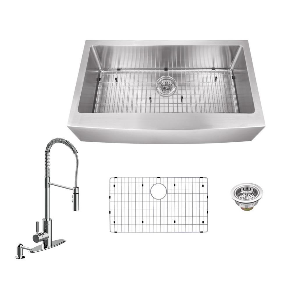 All-in-One Apron Front Stainless Steel 32.875 in. Single Bowl Kitchen Sink