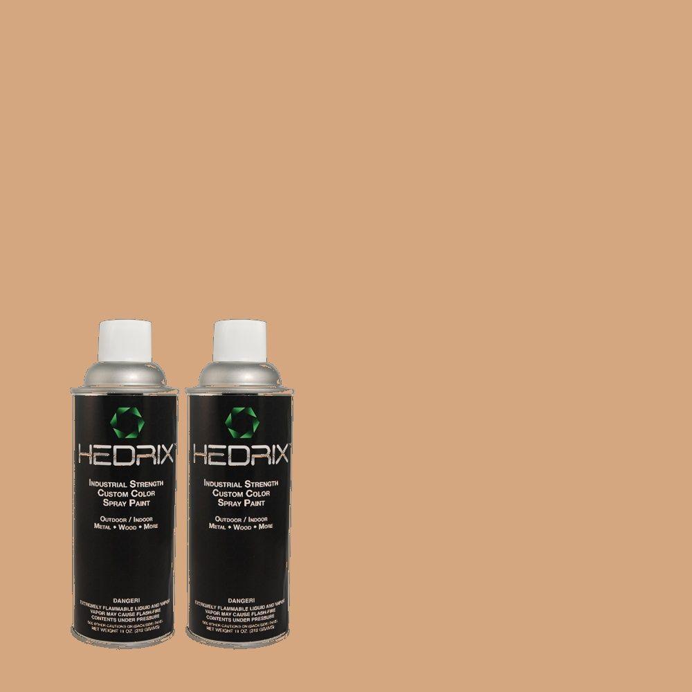 Hedrix 11 oz. Match of PMD-76 Sienna Buff Flat Custom Spray Paint (2-Pack)