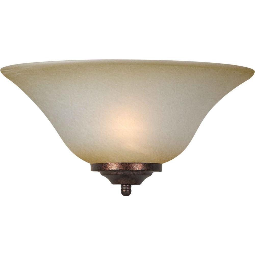 1-Light Brushed Nickel Sconce with Umber Mist Glass