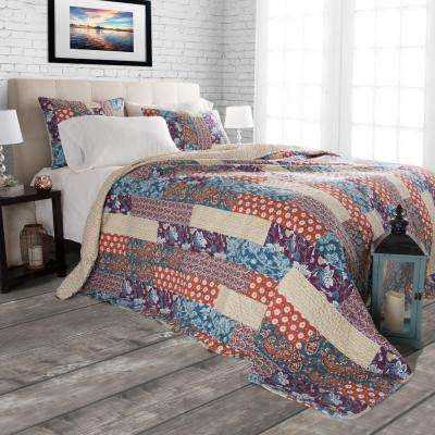 Santa Fe Red Polyester Full and Queen Quilt