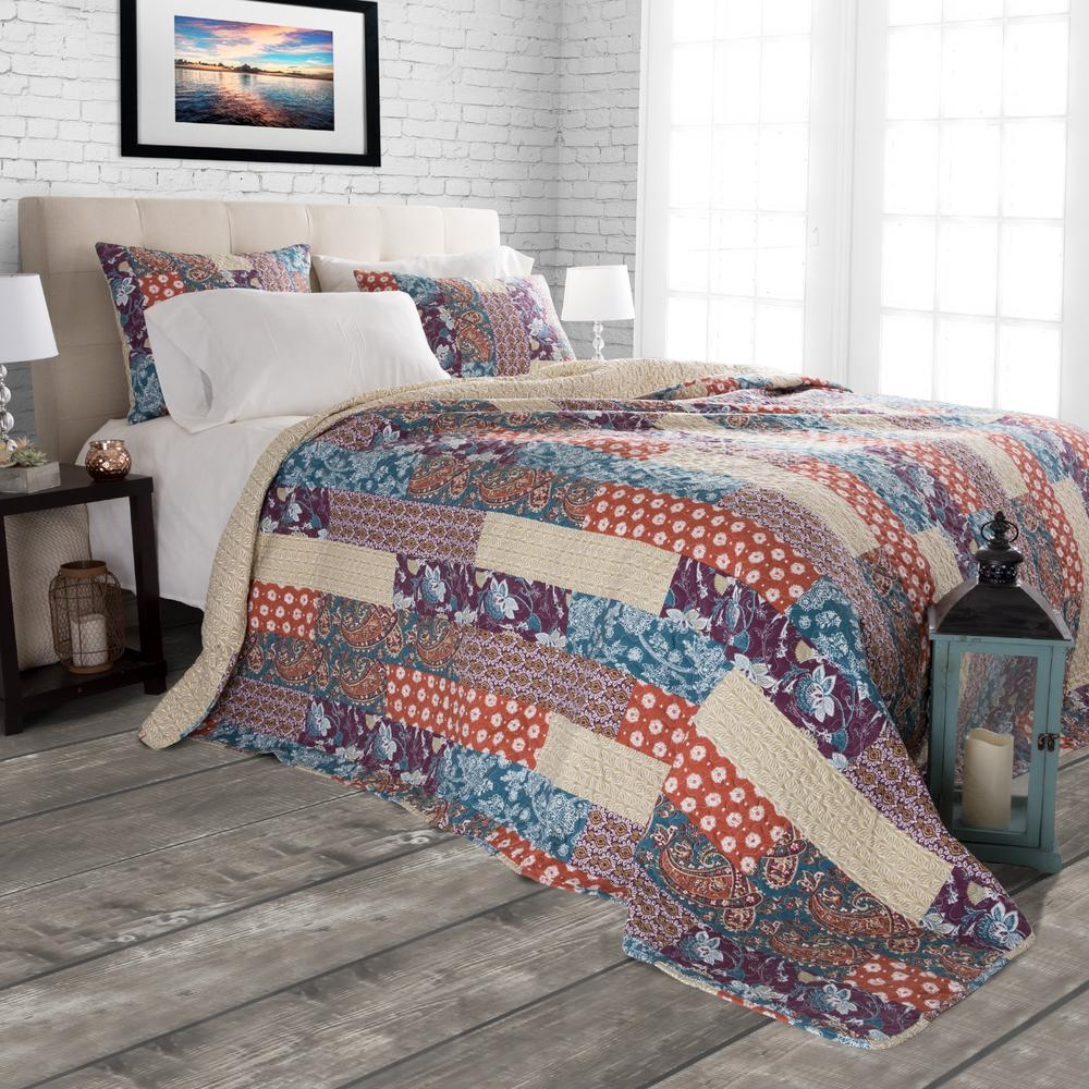 Santa Fe Red Polyester King Quilt