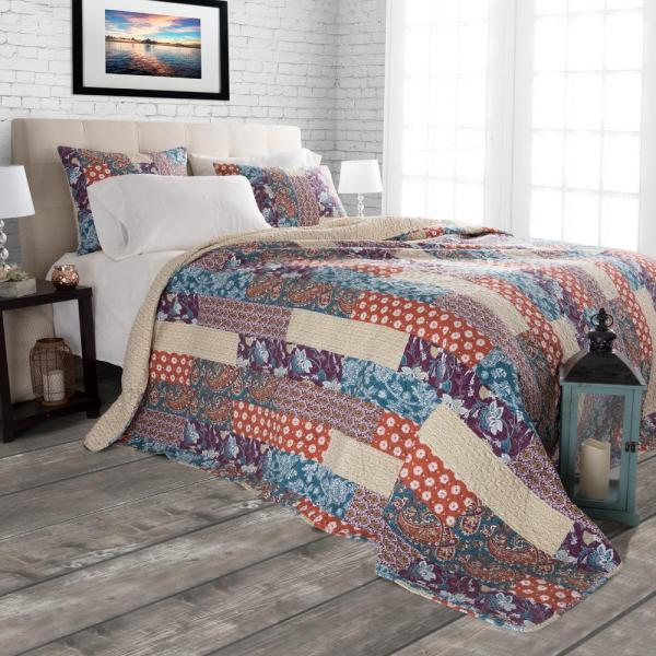Lavish Home Santa Fe Red Polyester Twin Quilt 66-10060-T