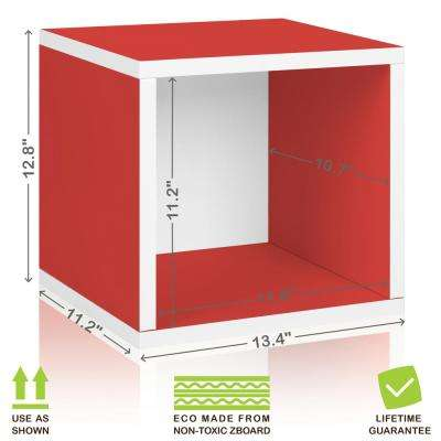 Eco Stackable zBoard 13.4 in. x 12.8 in. Tool-Free Assembly Storage 1-Cube Unit Organizer in Red