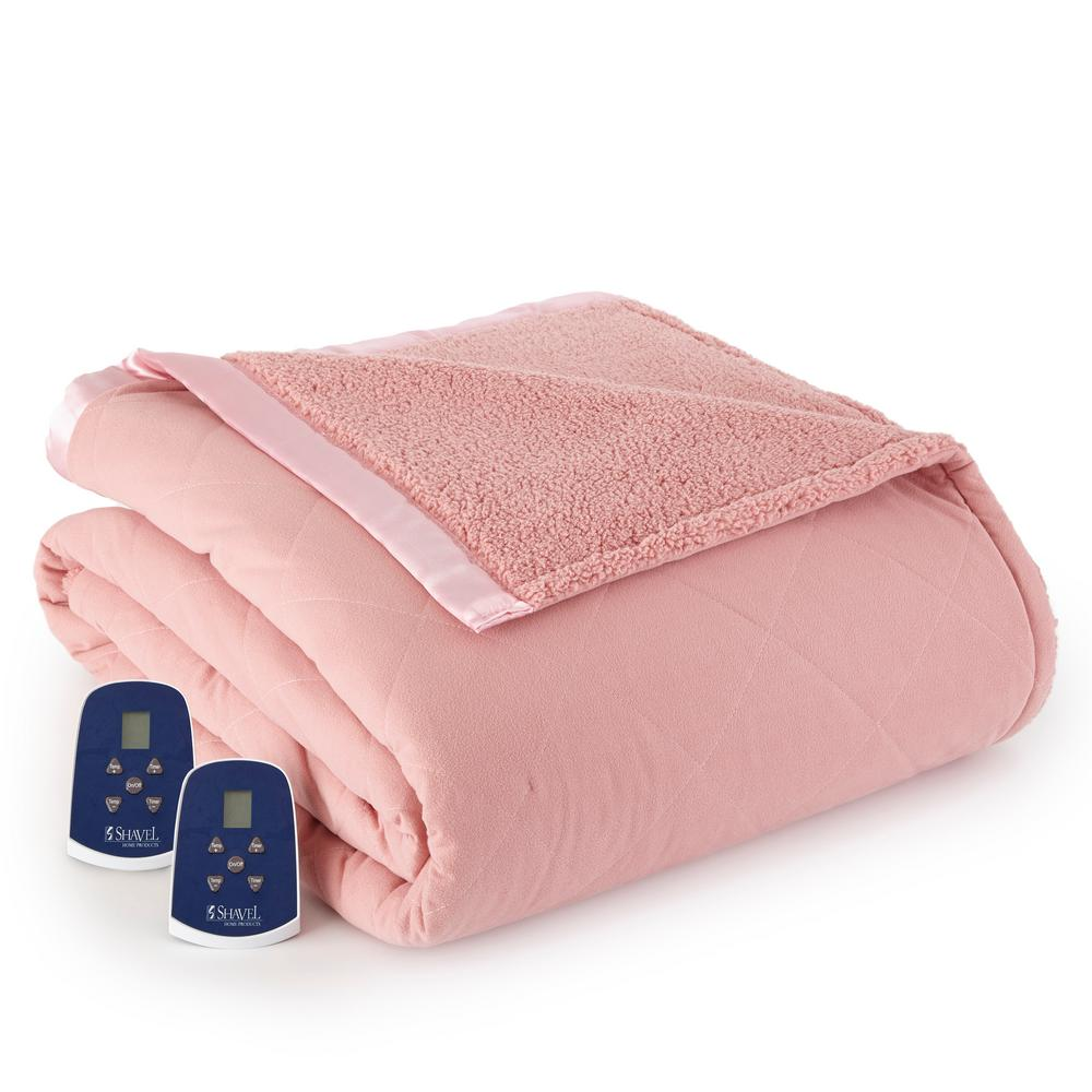 Reverse to Sherpa Queen Frosted Rose Electric Heated Blanket