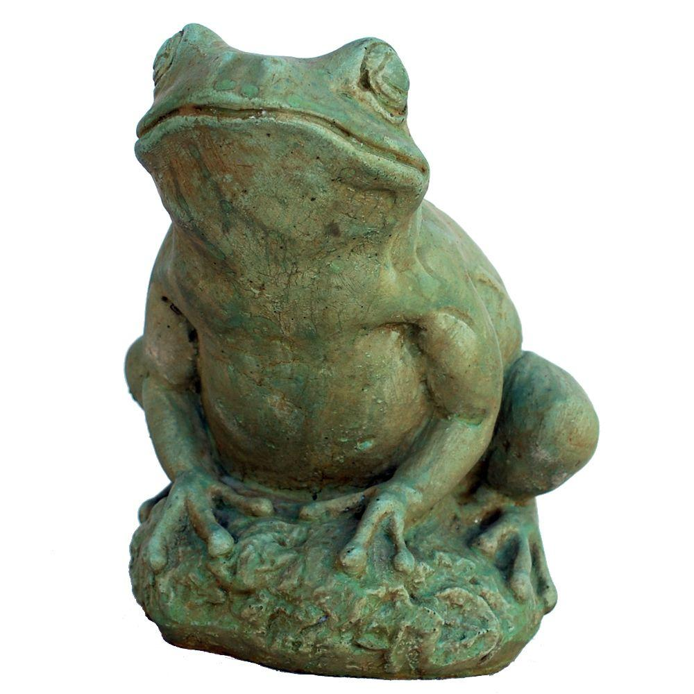 Cast Stone Tree Frog Garden Statue   Weathered Bronze